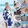 Summer Mandala Roundie Beach Boho Pareo Sarong Wrap Chiffon Shawl Floral Blanket Beach Towel Tapestry Swimsuit Cover up