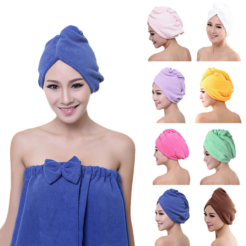 2019 High Quality Microfiber Bath Towel Hair Dry Quick Drying Lady Bath Towel Soft Shower Cap Hat For Lady Man