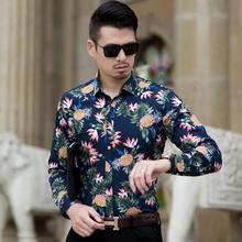 Blouse Men Pineapple pattern Hawaiian Shirt Mens Clothing Slim fit Dress Shirts Navy