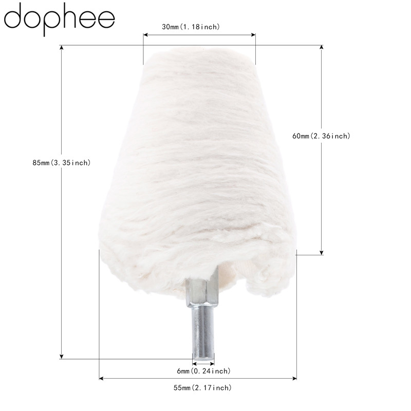 dophee Dremel Accessories 55mm/2.36 Cone Polishing Pad Cotton Grinding Buffing Wheel for Power Drill Car Cleaning Rotary Tool