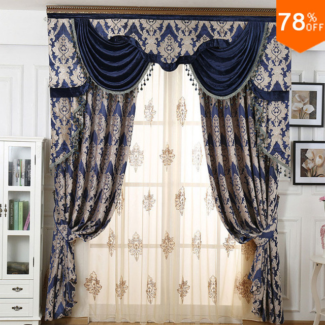 Magnetic Curtains Magnet European Shading Damask Deep Blue Thickened Chenille Living Room Bedroom High