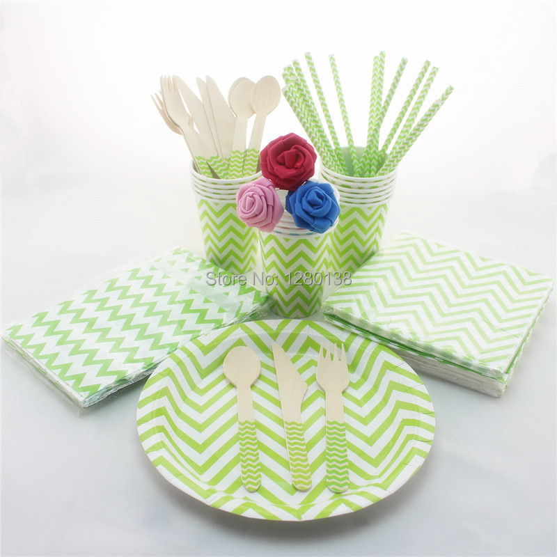 Party Supplies Eco friendly Paper Straws Cups Wooden Cutlery Wedding Chevron Tableware Set Party Paper Napkins Plates Bags-in Disposable Party Tableware ... & Party Supplies Eco friendly Paper Straws Cups Wooden Cutlery Wedding ...