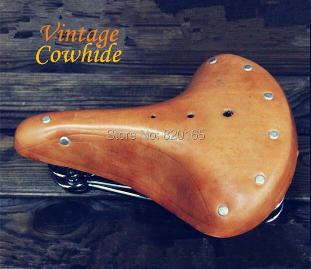 Bike Saddle Cowhide Leather Saddle Cycling Vintage Retro Riveted Saddle Seat Bike Seat -1797