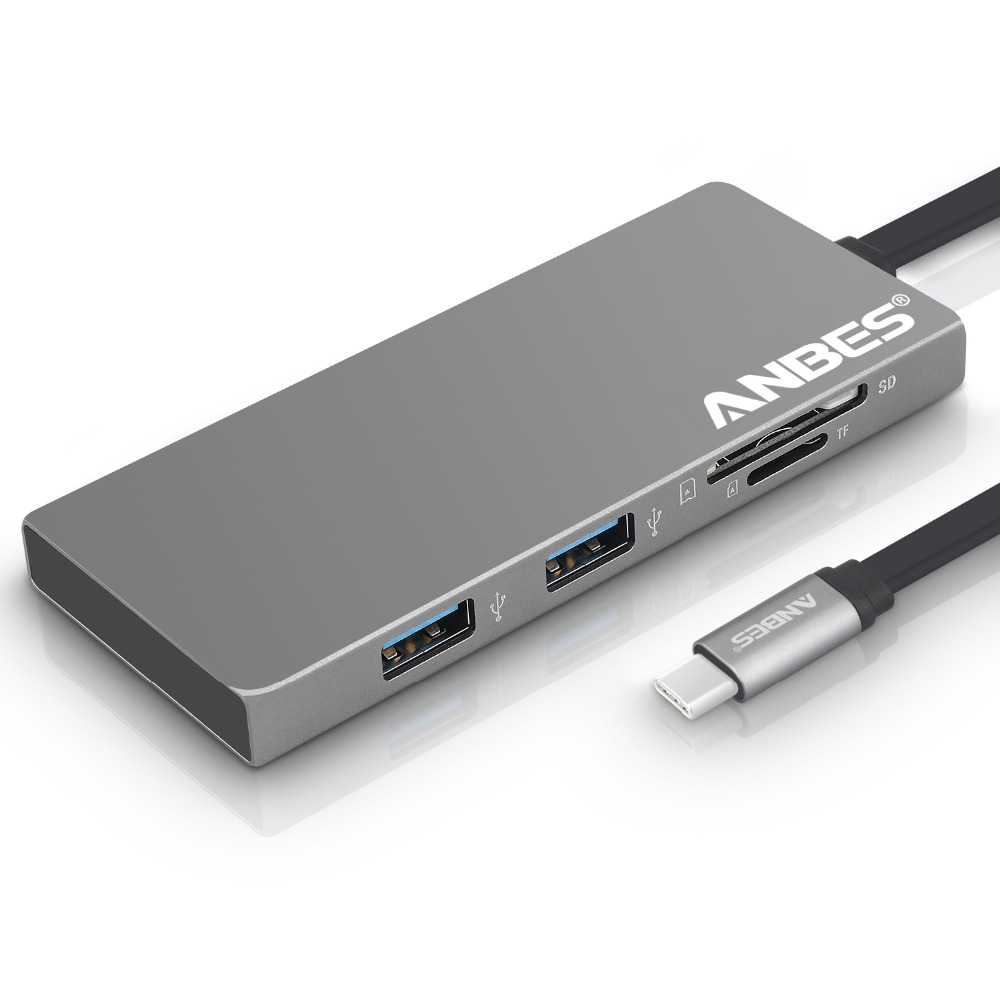 ANBES 6 in 1 USB C Hub Adapter 3.1 Type C Charging Port 4K Output Port TF/SD Card Reader 2 USB 3.0 Ports for MacBook Pro 2017 цена