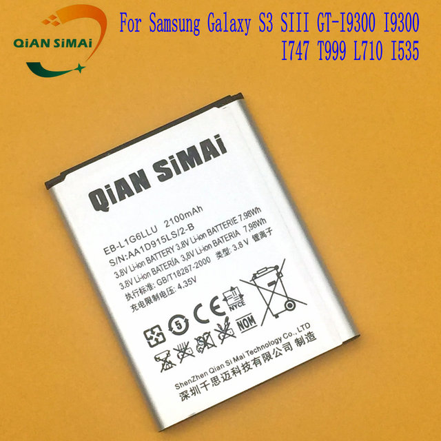 QiAN SiMAi 1PCS 2017 New EB-L1G6LLU EB L1G6LLU  Battery For Samsung Galaxy S3 SIII GT-I9300 I9300 I747 T999 L710 I535 phone