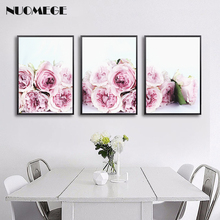 Nordic Floral Wall Art Decor Poster and Prints Pink Roses Flowers Canvas Painting Decoration Pictures for Living Room