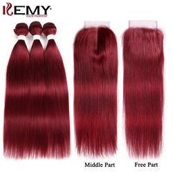 99J/бордовый натуральные волосы Связки с закрытием 4*4 non-реми красного цвета бразильский прямо натуральные волосы Weave Связки 3 шт. Кеми волос