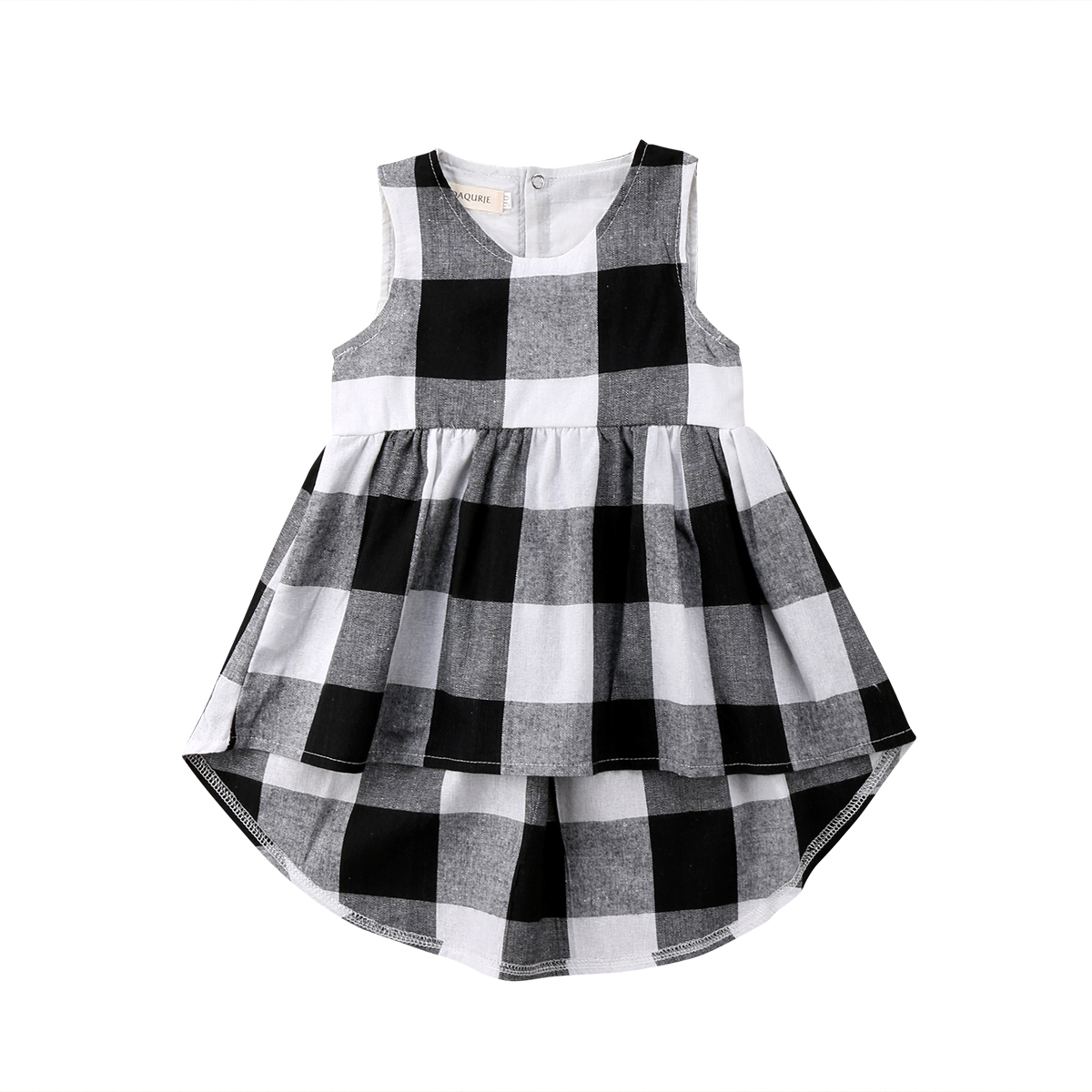 Kids Baby Girls Princess Plaid Sleeveless Dress Clothing Sundress Summer Casual Clothes Dresses Girl 2-7T summer baby girl printed pattern straps dresses toddler girls baby clothing sleeveless baby dress kids casual clothes yp