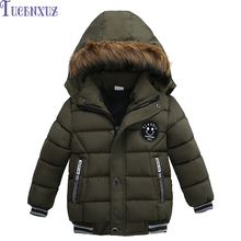 New Hot winter boys outwear children's hooded handsome long sleeve coat character coat smiling face + letter