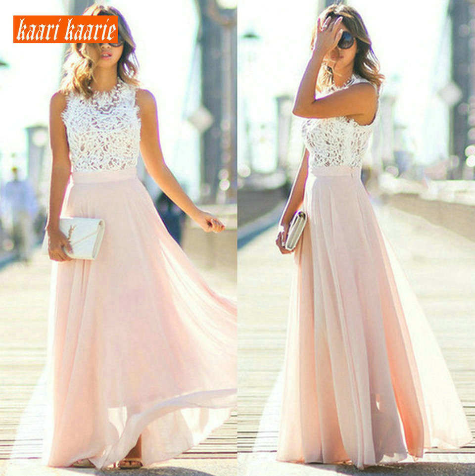 fashionable Women Long Evening Gown 2019 Formal Dresses O-Neck Chiffon Lace Zipper Ankle Length A-Line Slim Fit Cheap Prom Dress