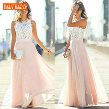 Formal-Dresses Evening-Gown Chiffon Women Cheap Lace Long O-Neck Zipper A-Line Ankle-Length