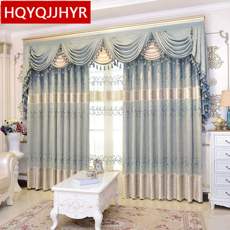 Blue luxury European pastoral high quality chenille Blackout curtains for Living Room Pink modern classic curtains for Bedroom