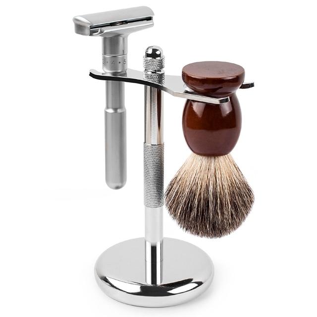 Qshave klasik güvenlik jilet ile % 100% saf porsuk saç tıraş fırçası için standı tutucu ile çift kenarlı tıraş bıçağı