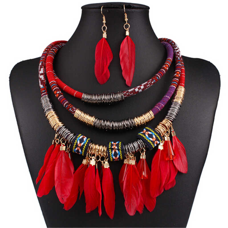 Exaggerated new feather jewelry set ethnic gold multilayer red feather tassel african jewelry set