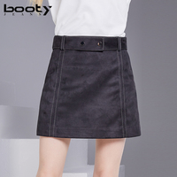 BOOTY JEANS Suede Skirts Womens 2018 Winter Autumn A Line Mini Skirt Sexy Waist Belt Shorts