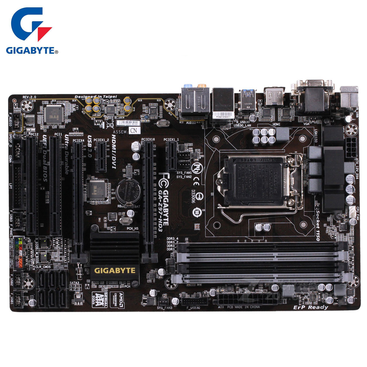 Gigabyte GA-Z97-HD3 100% Original Motherboard LGA1150 DDR3 USB3.0 32G Z97 Z97-HD3 Desktop Mainboard SATA III Mother Board Used