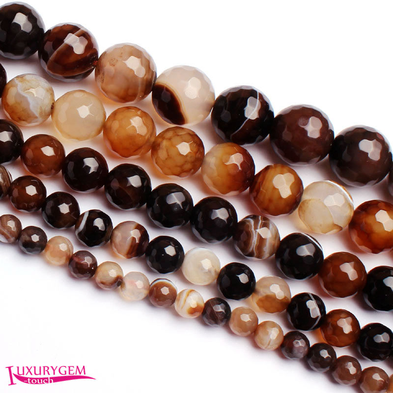 Free Shipping 6,8,10,12,14mm Natural Faceted Round Shape Brown Color Banded Stone DIY Gems Loose Beads Strand 15 wj328