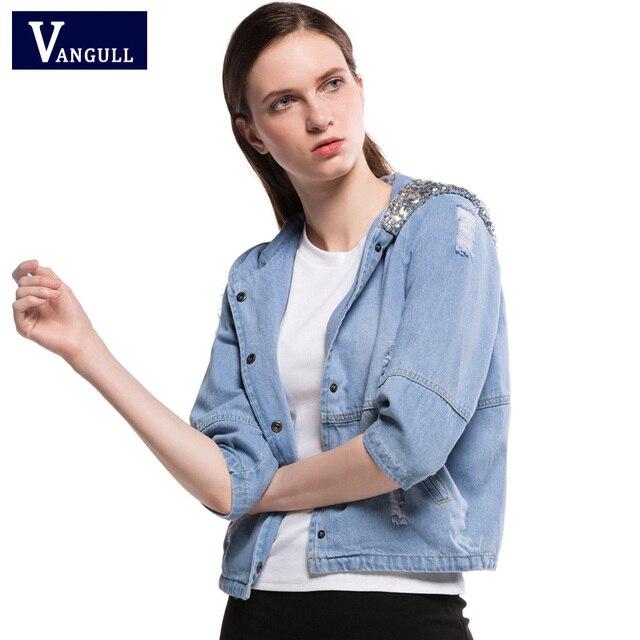 a242748b155 Women Loose Sequin Hooded Jean Jacket 2017 Spring Autumn Oversized Jeans  Coat Female Ripped Boyfriend Plus size Denim Jackets