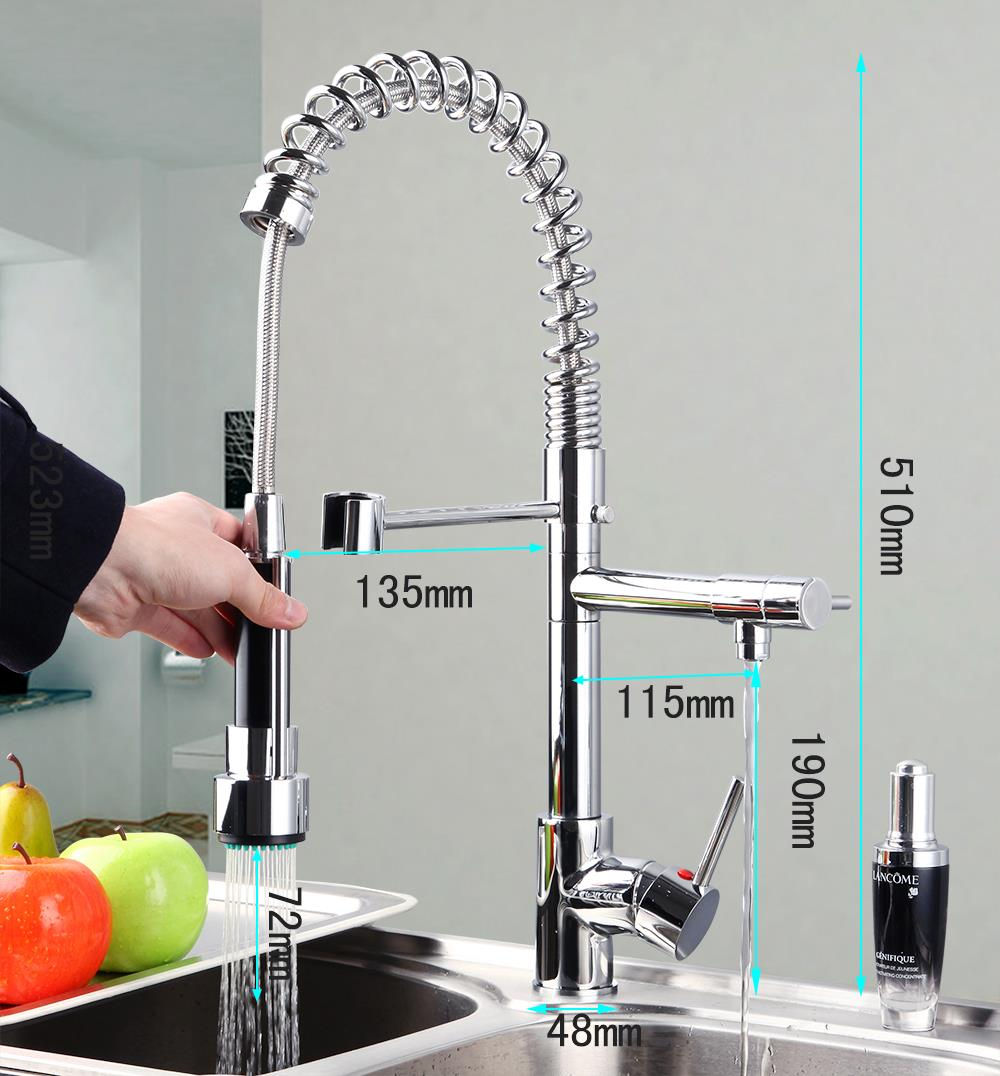 Good Quality 8525 Wholesale And Retail Chrome Solid Brass Water Power Kitchen Faucet Swivel Spout Pull Out Vessel Sink Mixer Tap led spout swivel spout kitchen faucet vessel sink mixer tap chrome finish solid brass free shipping hot sale