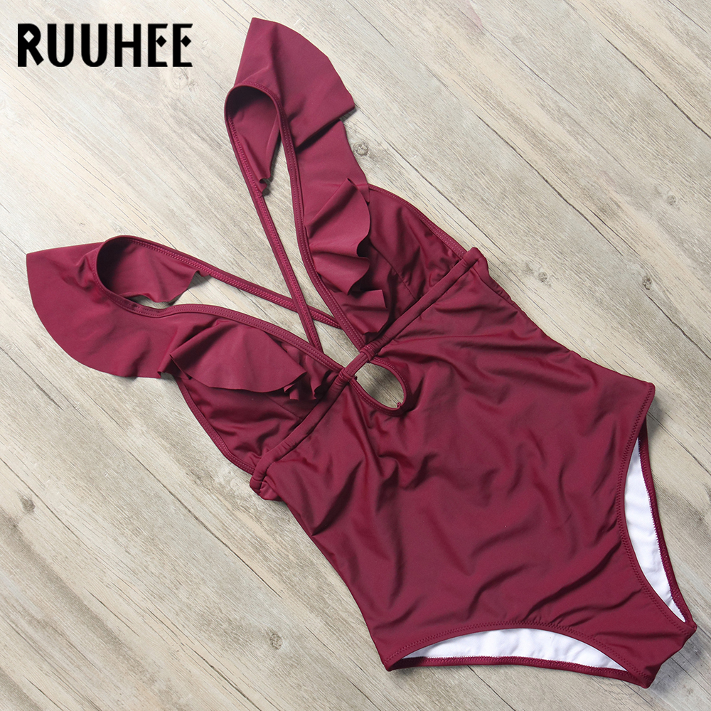 RUUHEE Swimwear Women One Piece Swimsuit V-Neck Bodysuit Sexy Solid Bathing Suit Monokini Backless Swimming Suit Beachwear 2018 1 8 years old kids swimsuit for girls lovely yellow duck bathing suit children swimsuit princess one piece swimwear swimming cap