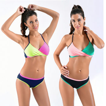 Bikinis Female 2019 Solid Swimsuit Sport Badpak Large Size Swimwear Women Sexy Microbikini Push Up Brazilian Bikini Set XXXL