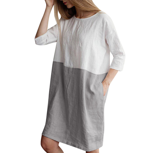 Women Dress Summer Casual Patchwork 1/2 Sleeved Cotton Linen Loose Pockets Tunic Dress Female Soft O Neck Half Sleeve Clothing