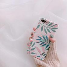 Pink Green Leaf Mobile Phone Case for IPhone7plus  Apple X/8/6/6s  iphone 7 caseiphone 6 case  iphone x case leaf print iphone case