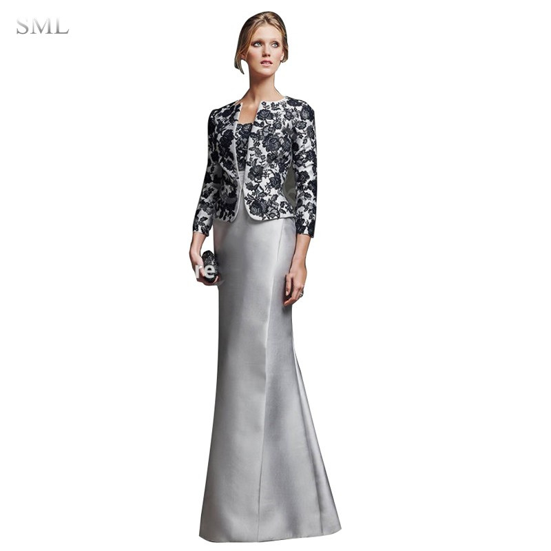sml sexy silver mother of the bride dresses with detachable lace jacket godmother mermaid long evening
