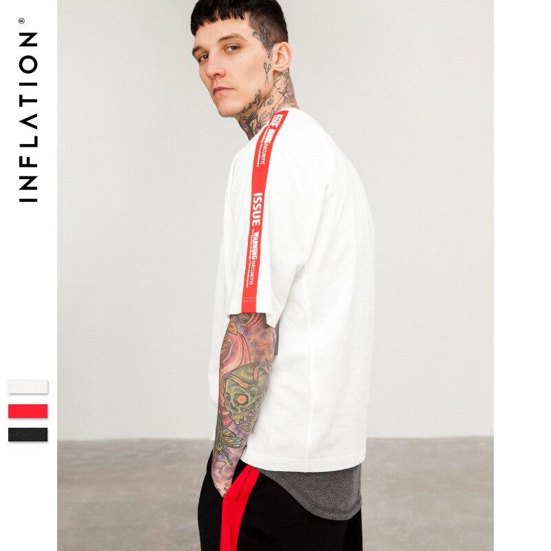 INFLATION 2018 Summer Letter On Sleeve Off Shoulder Mens   T  -  shirt   Short Sleeve Streetwear Hip Hop   T  -  shirts   Men Clothes 8189S