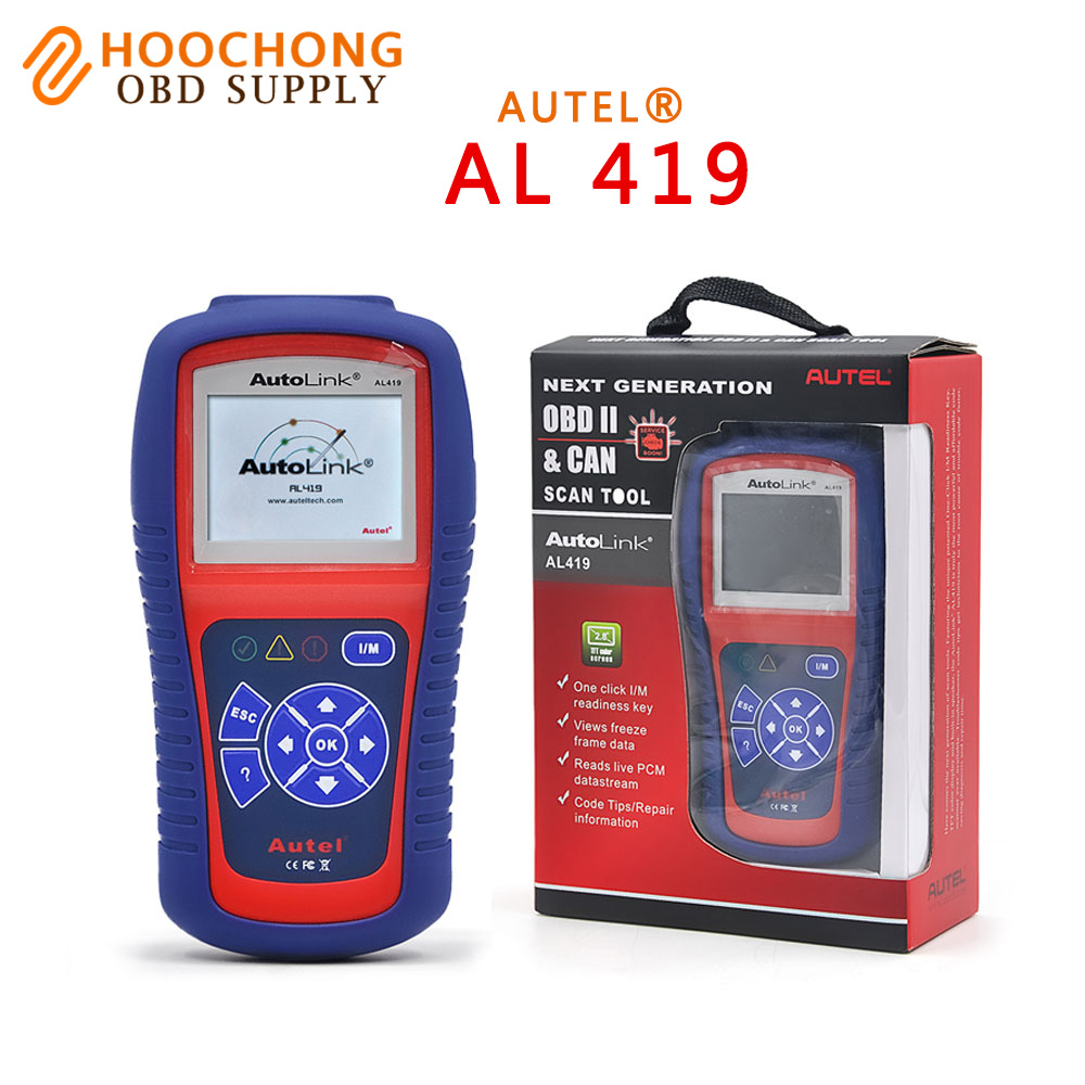 Car Diagnostic Scan Tool Autel AutoLink AL419 Code Reader Free Online Update with Troubleshooter code tips