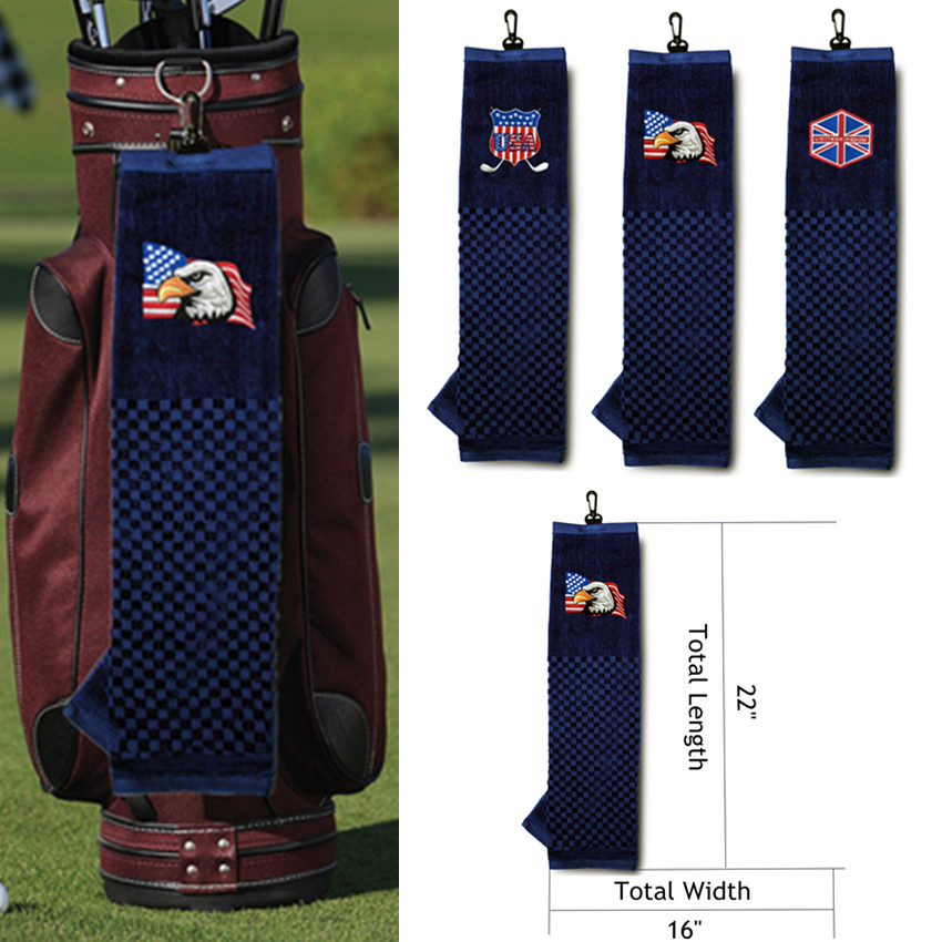 Golf Towels Cotton Sports Hand Towel Clip Tri-fold 16''x24'' Inch Comfortable Soft Flag Eagle Style Towels Hook To Bag Belt 1 Pc