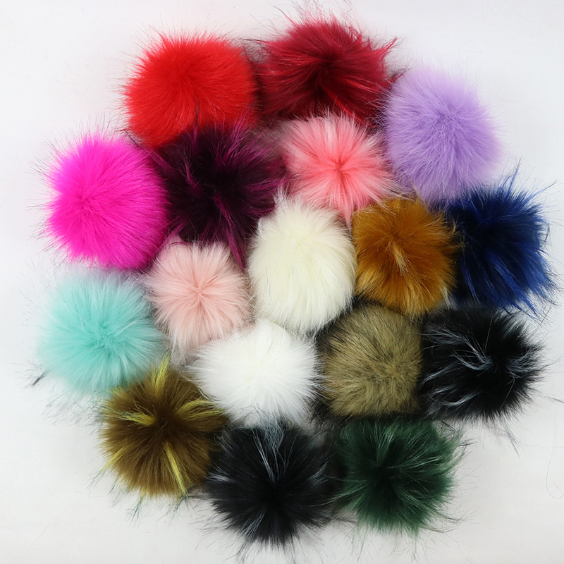 10 Piece/Lot Multicolor False Hairball Hat Ball Pom Pom Handmade DIY Artificial Fox Ball Wholesale PomPom With Buckle