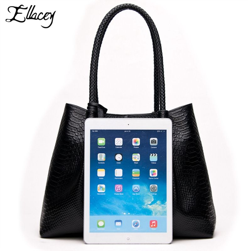df15ff4fe8 Ellacey 2018 Designer Large Black Leather Tote Bags For School Womens  Serpentine Composite Bags Genuine Leather Ladies Hand Bags-in Top-Handle  Bags from …