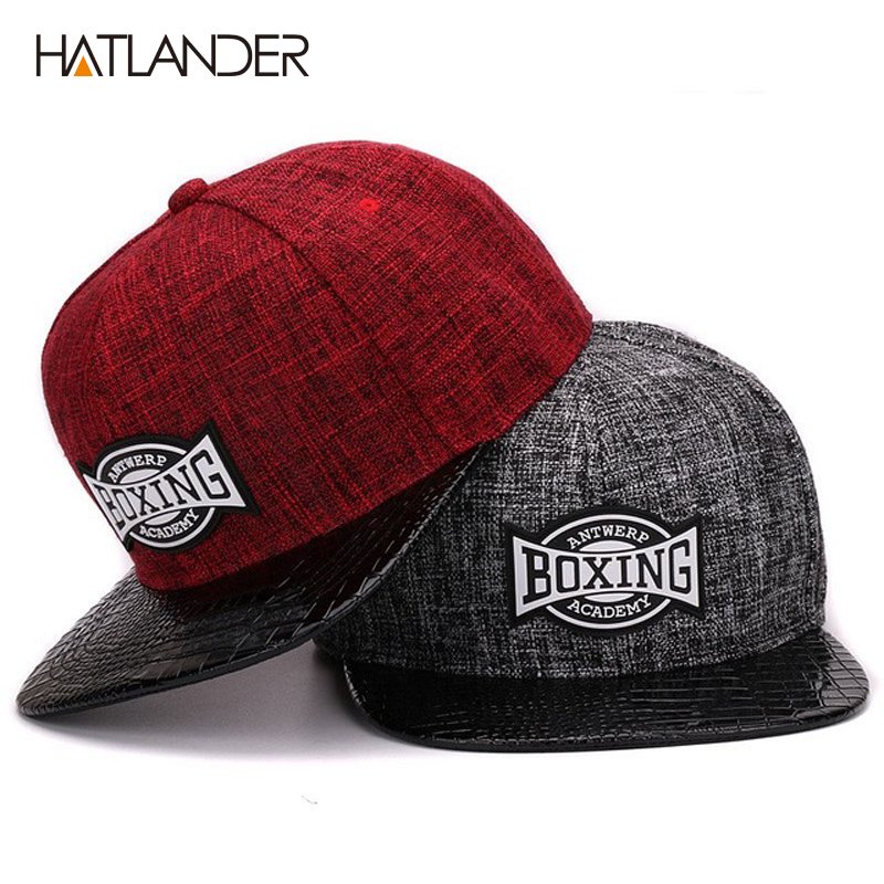 HATLANDERQuality linen cotton mens snapback   cap   rubber patch hiphop pu crocodile skin flat   baseball     cap   for boys and girls