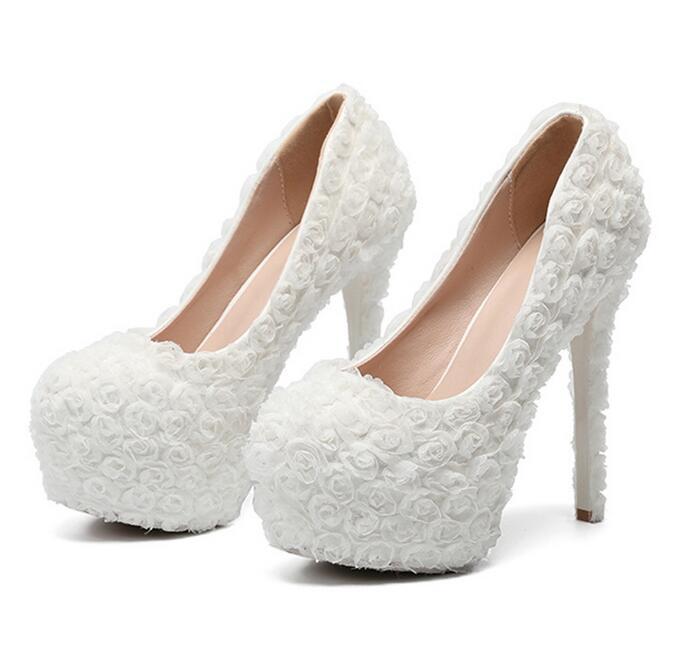 Ayakk.'ten Yüksek Topuklular'de 2019 Ayakkabı Düğün Gelin Platformu Yüksek Topuk Fildişi Beyaz Kristal Peep toe Gelin Nedime bayanlar Balo Pompaları'da  Grup 1
