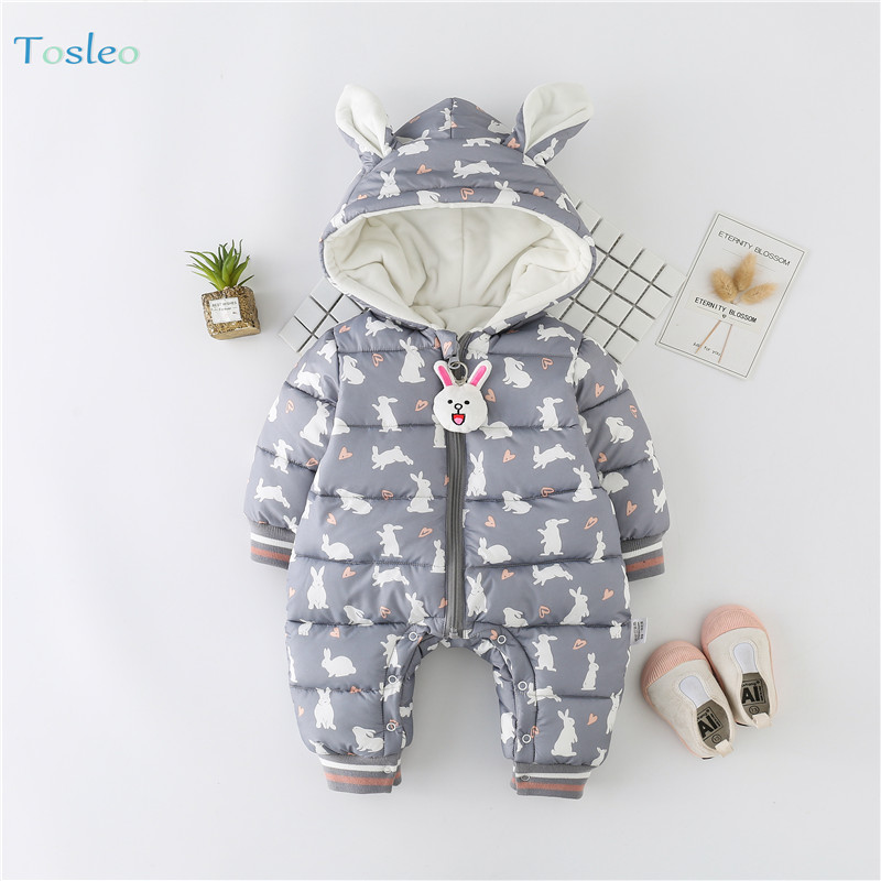 Winter Baby Clothing Funny Animal Print Cotton Paded New Born Outfits Thick Warm Infant Clothes 0 2Y Rompers Girls