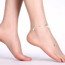 Anklets feet wears cute three pendants 925 Sterling Silver Creative charms For girls Jewelry Gift pouches free a174