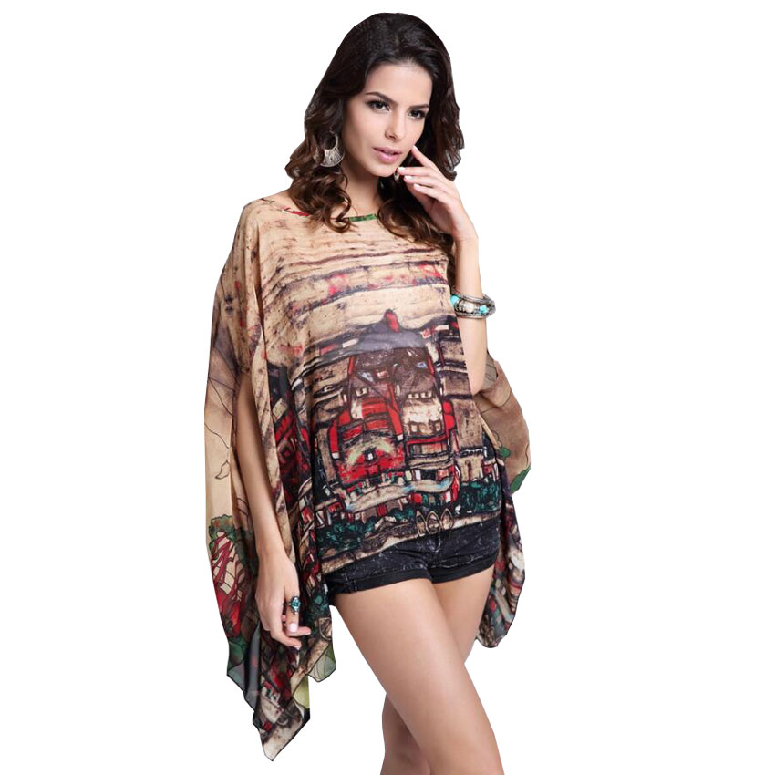 New Women Europe Vintage Style City Print Brown Batwing ...