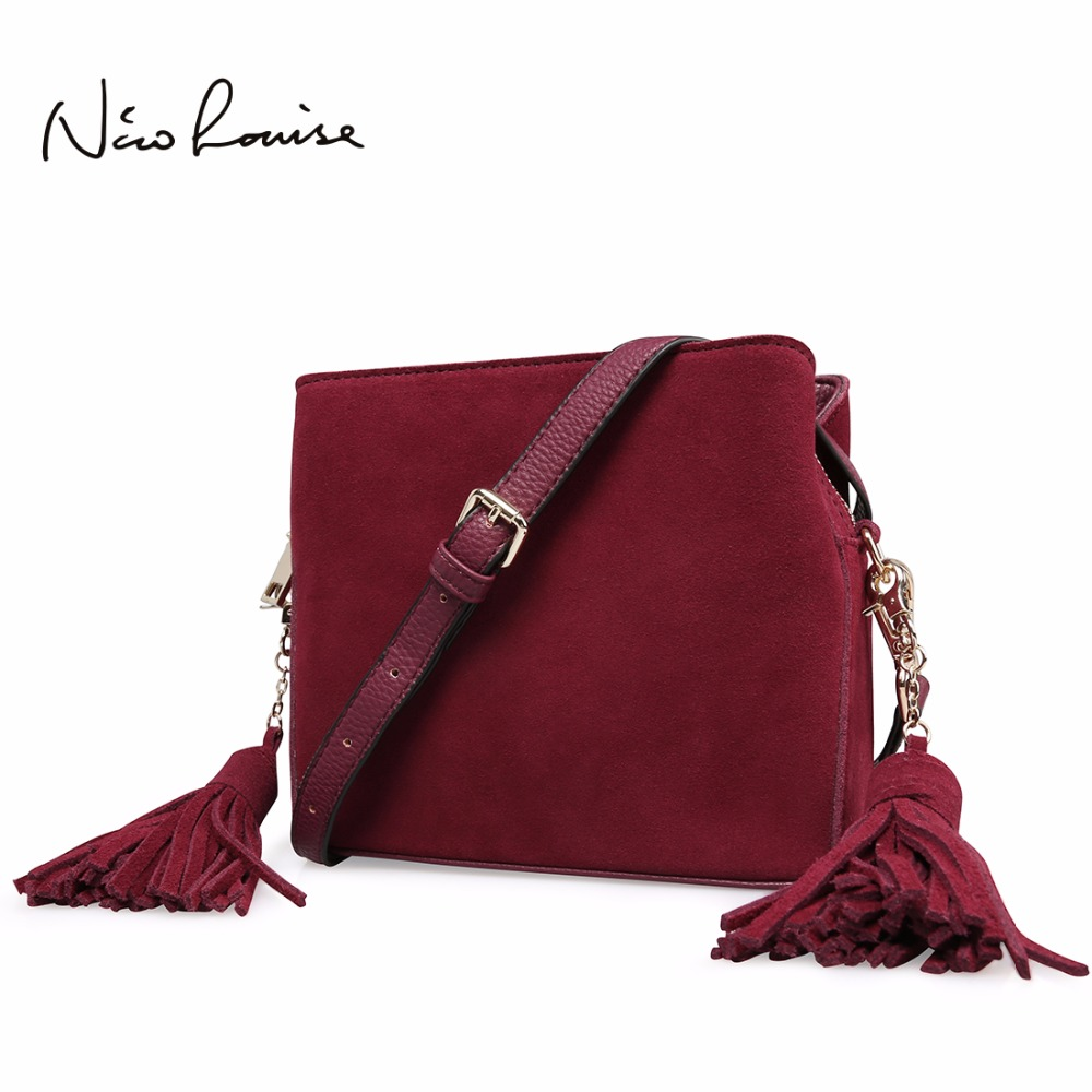 купить 2018 Latest women Real Suede Leather Tassels Shoulder Bag Fashion Lady Small Crossbody Purse Female Flap Handbag For Grils Sac по цене 1910.73 рублей