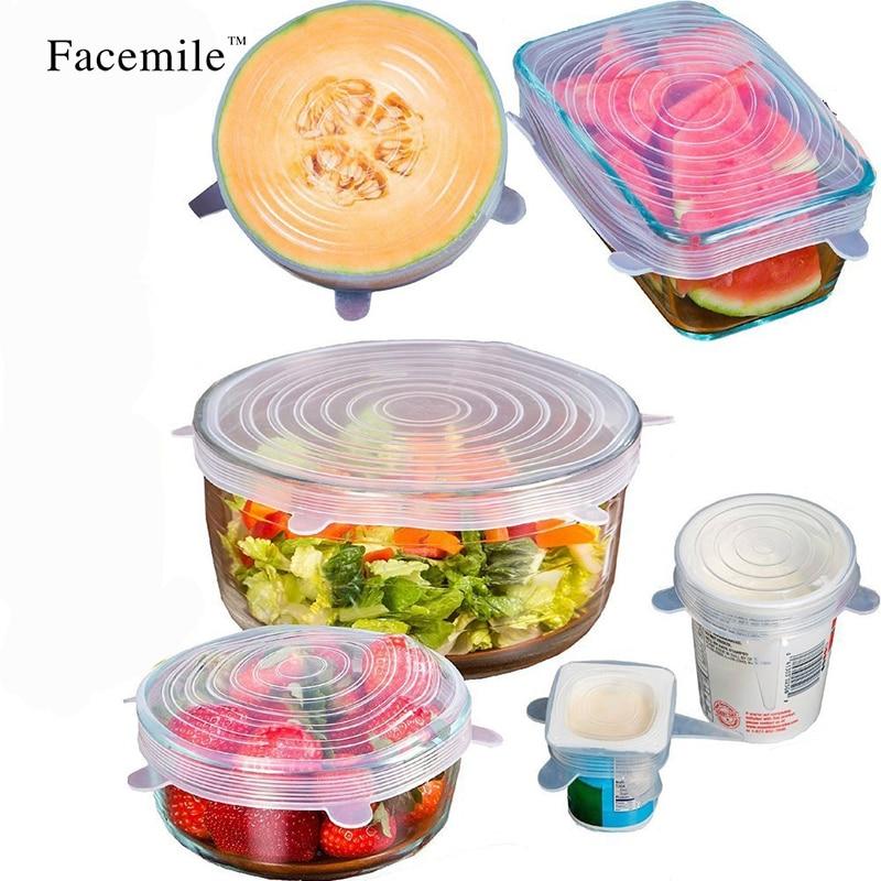 6PCS ReusableSilicone Saran Wrap Potraviny Čerstvé Udržování Saran Wrap Kuchyňské nářadí Silikonové obaly na potraviny Těsnění víka Kryt Stretch