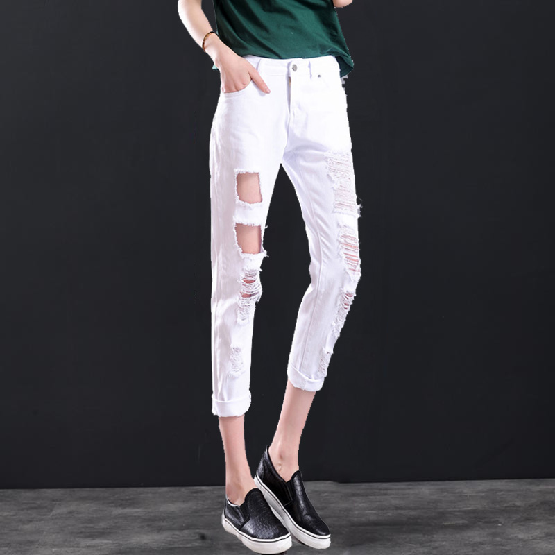 Summer Design Plus size Loose Ripped White Cropped Jeans 6XL 4XL ...