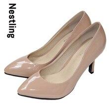 New 2017 sheepskin pointed toe OL women pumps Genuine Patent leather spike heels women high heels shoes woman Size 34-41