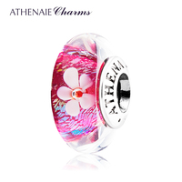 ATHENAIE Genuine Murano Glass 925 Silver Core Rose Red Shimmer Petal Charm Bead Fit European Bracelets Gift for Thanksgiving Day