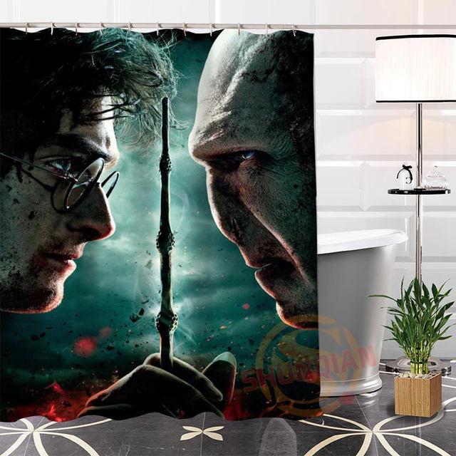 Moderne Benutzerdefinierte Harry Potter Duschvorhang 100% Polyester Gewebe  Badezimmer Wasserdicht Gardinen