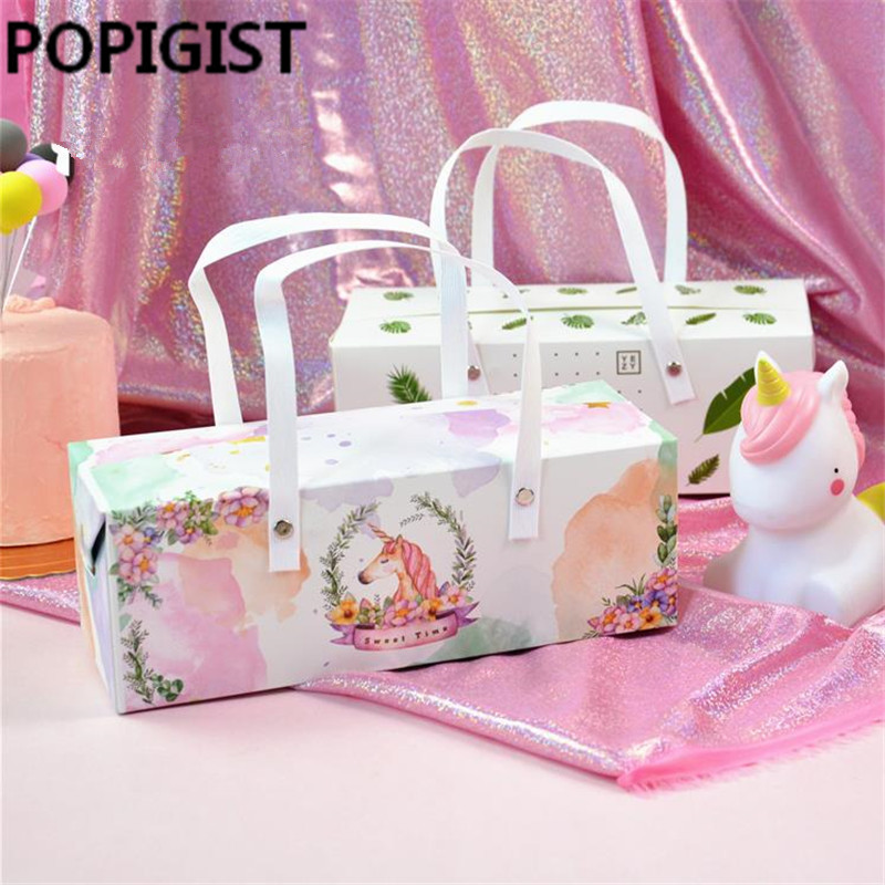 Us 18 84 35 Off Unicorn Leaf Gift Bags With Handle For Food Packaging Party Wedding Bag Cookies Paper Handles Candy Box Package In