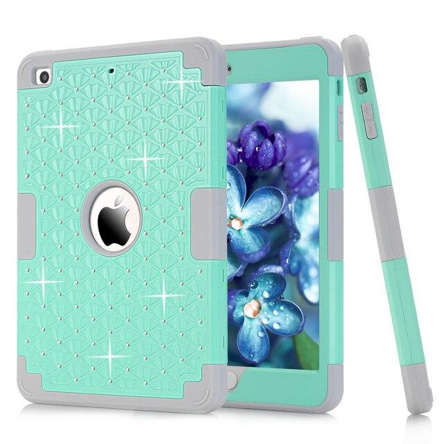 Diamante Para Apple iPad Mini 3/2/1 Prueba de Golpes Protege la Caja de la Armadura Híbrido Impacto De Goma Dura Piel Cubierta para el ipad Mini 1/2/3