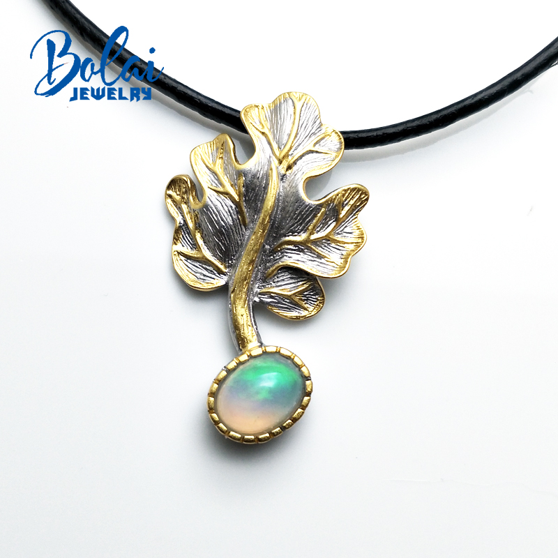 Bolaijewelry,new product flowers leaf and leaves shape of pendant natural good fire Ethiopia opal 925 silver pendant necklac working equids of ethiopia