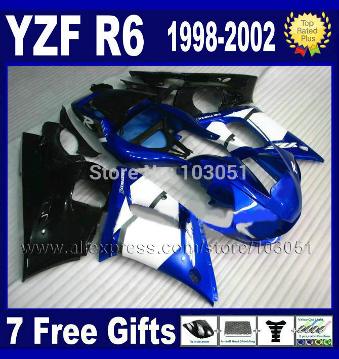 Custom moto fairings kit for YAMAHA YZFR6 1998 1999 2000 2001 2002 blue white  YZF R6 98 99 01 02 YZF600 body repair Fairings