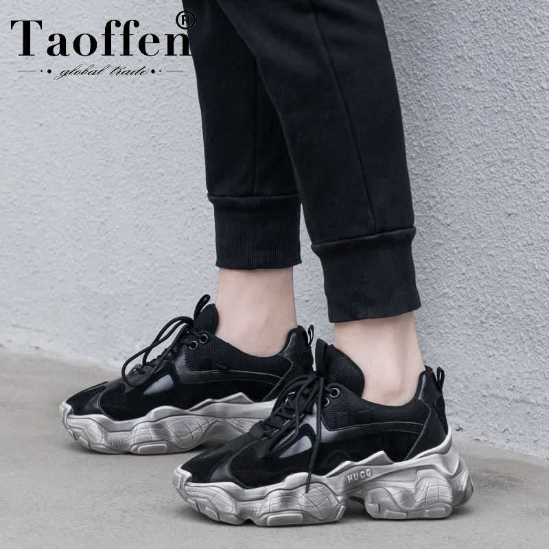 Taoffen Daily Real Leather Fashion Thick Bottom Vulcanized Shoes Women Sneakers Club Young Teen Shoes Spring Ins Hot Size 35-42Taoffen Daily Real Leather Fashion Thick Bottom Vulcanized Shoes Women Sneakers Club Young Teen Shoes Spring Ins Hot Size 35-42