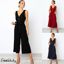 Womens Solid Jumpsuit Ladies Party Summer V Neck  Romper Loose Wide Leg High Waist Long